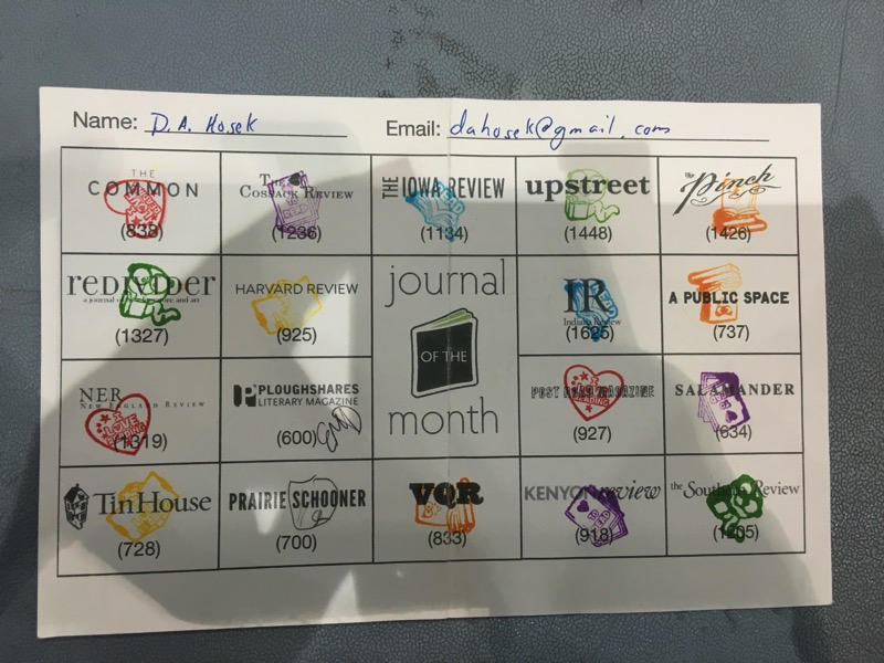 Journal of the Month bingo