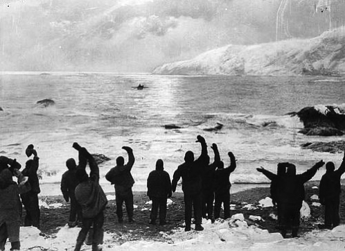 Doctored image of Shackleton leaving his crew at Elephant Island on his quest for rescue